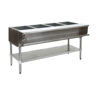 "Eagle Group AWTP4-NG Open Base Stainless Steel Hot Food Steam Table with (4) 12"" x 20"" Openings, Natural gas - 30,000 BTU"