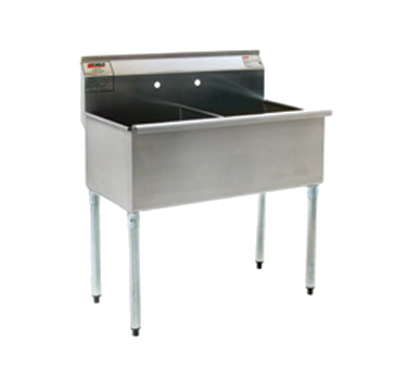 """Eagle Group 2148-2-16/4 Commercial Sink, (2) Two Compartment, 16 Gauge Stainless Steel Construction with Galvanized Steel Legs and without Drainboard - 49.38"""" W"""