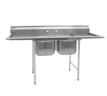 """Eagle Group 314-22-2-24L Commercial Sink, (2) Two Compartment, Stainless Steel Construction with Galvanized Steel Legs and With Left-hand Drainboard - 75"""" W"""