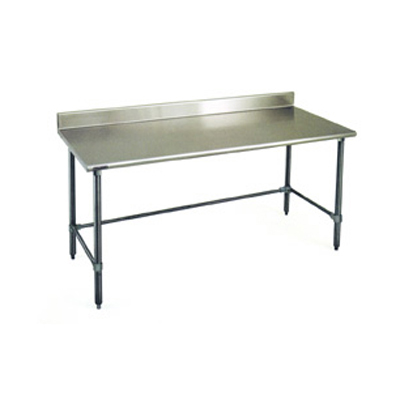 """Eagle Group BPT-2496GTEB-BS Work Table, 16 Gauge Stainless Steel Top with Open Base and 4-1/2"""" Backsplash - 96""""W x 24""""D"""