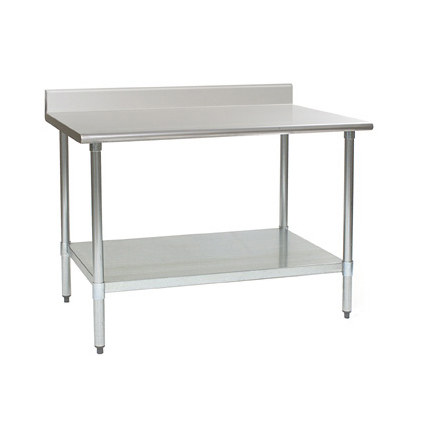 """Eagle Group BPT-3048EB-BS Work Table, 16 Gauge Stainless Steel Top with Galvanized Steel Undershelf and 4 1/2"""" Backsplash - 48""""W x 30""""D"""