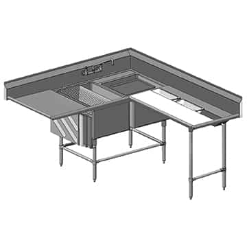 """Eagle Group CFNP2840-2-18R-48TL Commercial Sink, (2) Two Compartment, 14 Gauge Stainless Steel Construction with Stainless Steel Legs and With Right-hand Drainboard - 81"""" W"""