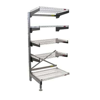 """Eagle Group Q1854VG76A-5 Q-LEVER Cantilever Add-On Shelving Unit,  5-tier,  55-1/2""""W x 23""""D x 76""""H overall size"""