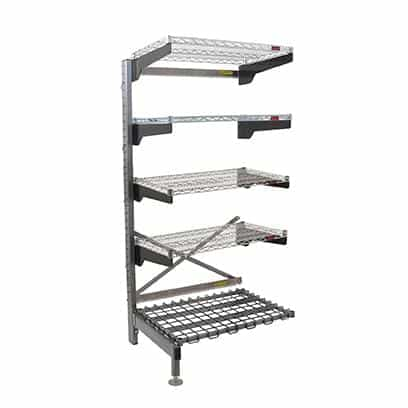 """Eagle Group Q2448VG76A-5D Q-LEVER Cantilever Add-On Shelving Unit,  5-tier,  49-1/2""""W x 29""""D x 76""""H overall size"""