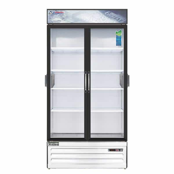 Everest Refrigeration EMSGR33C 39.38'' White 2 Section Swing Refrigerated Glass Door Merchandiser