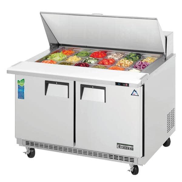 Everest Refrigeration EPBR2 47.5'' 2 Door Counter Height Mega Top Refrigerated Sandwich / Salad Prep Table