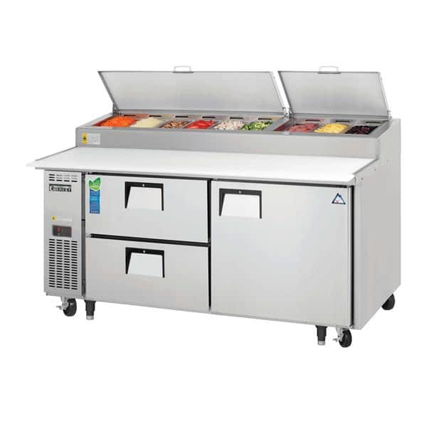 Everest Refrigeration EPPR2-D2 71'' 1 Door 2 Drawer Counter Height Refrigerated Pizza Prep Table