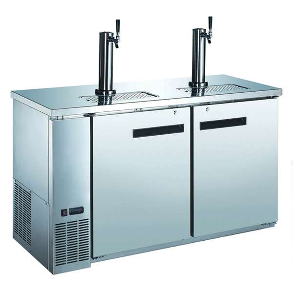 Falcon ADD-60SS 2 Taps 1/2 Barrel Draft Beer Cooler - Stainless Steel, 2 Kegs Capacity, 115 Volts