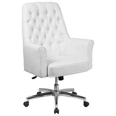 Flash Furniture BT-444-MID-WH-GG Traditional Executive Swivel Office Chair