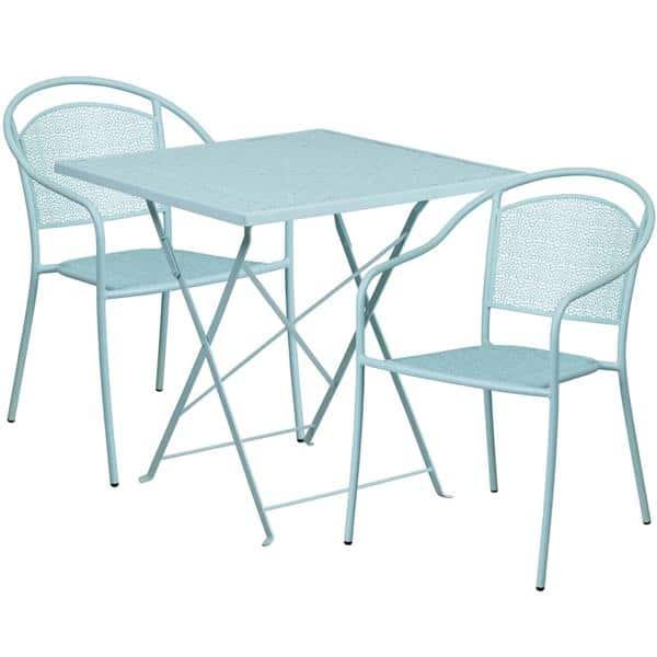 Flash Furniture CO-28SQF-03CHR2-SKY-GG Patio Table Set