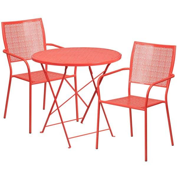 Flash Furniture CO-30RDF-02CHR2-RED-GG Patio Table Set