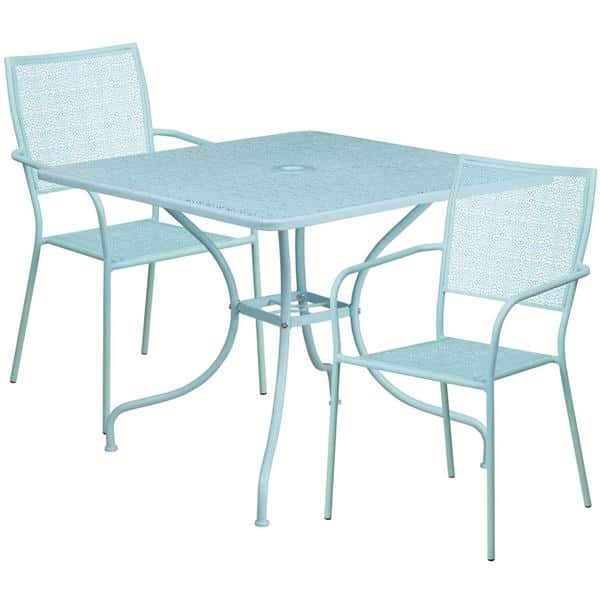 Flash Furniture CO-35SQ-02CHR2-SKY-GG Patio Table Set