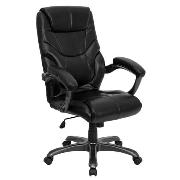 Flash Furniture GO-724H-BK-LEA-GG Overstuffed Executive Swivel Office Chair