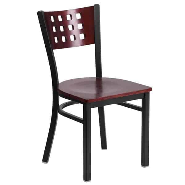Flash Furniture XU-DG-60117-MAH-MTL-GG Hercules Series Restaurant Chair