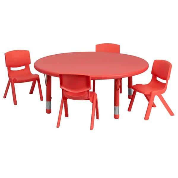 Flash Furniture YU-YCX-0053-2-ROUND-TBL-RED-E-GG Preschool Activity Table Set