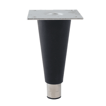 "FMP 119-1090 6"" Black Plastic Leg with Nickel-Plated Foot 1/2-13 mounting stud with 3 1/2"" removable plate"