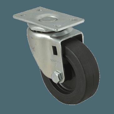 "FMP 120-1019 Standard-Duty 3"" Plate Caster Black polyolefin wheel and hub"