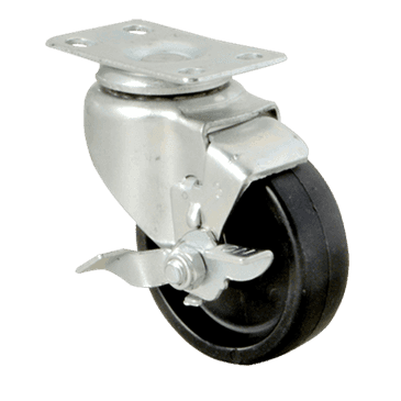 """FMP 120-1020 Standard-Duty 3"""" Plate Caster with Brake Black polyolefin wheel and hub"""
