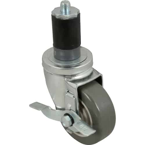 "FMP 120-1027 Medium-Duty 3-1/2"" Stem Caster with Brake Gray polyurethane wheel with plastic hub"