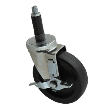"""FMP 120-1089 Standard-Duty 5"""" Stem Caster with Brake Solid polyolefin hub and wheel"""