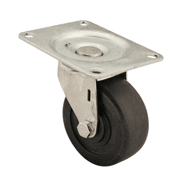 "FMP 120-1173 Swivel Dolly 3"" Plate Caster Hard black rubber wheel"