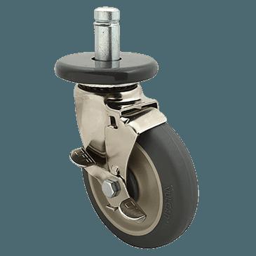 FMP 126-1521 Stem Caster with Brake for Super Erecta Series Gray polyurethane wheel  includes caster bumper