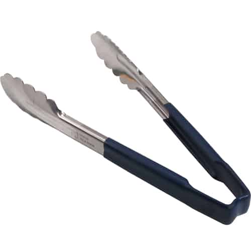 """FMP 137-1195 Kool-Touch Color-Coded Tongs by Vollrath 9-1/2"""" with scalloped paddle  blue handle"""