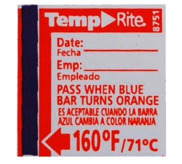 FMP 138-1259 Dishwasher Temperature Label by Taylor 160*F target temperature