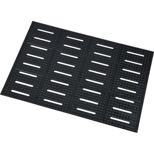 "FMP 141-2176 Urinal Floor Mat 24"" L x 17"" W  black rubber"