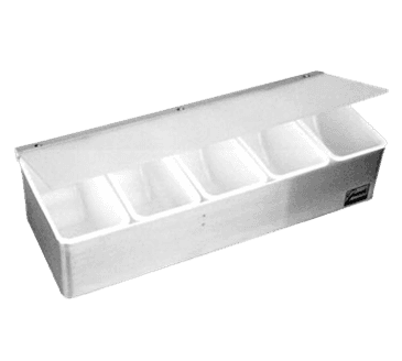 FMP 150-3506 Condiment Tray with Plex Lid 1 pt compartments  5-part dispenser