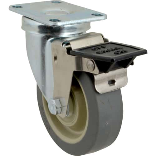"""FMP 205-1124 4"""" Swivel Plate Caster with Brake"""