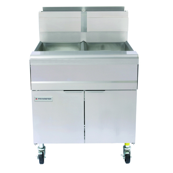 Frymaster MJ240 (2) 40 lb. Frypots Gas Floor Fryer with Millivolt Thermostatic Controls and Built-In Filtration System, 120 Volts - 220,000 BTU