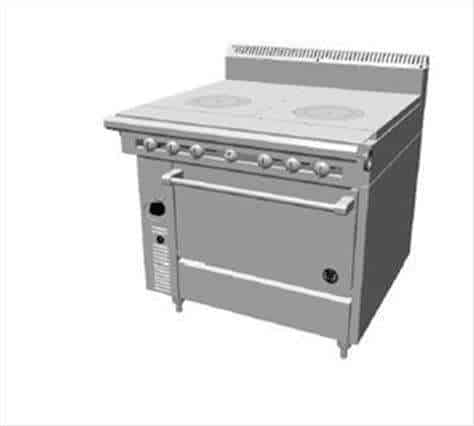 """Garland US Range Garland/US Range C0836-11RM Commercial Range, 36"""" W with (1) 18"""" Front Fired Hot Top & (1) 18"""" Even Heat Hot Top and Modular Base - 70,000 BTU"""