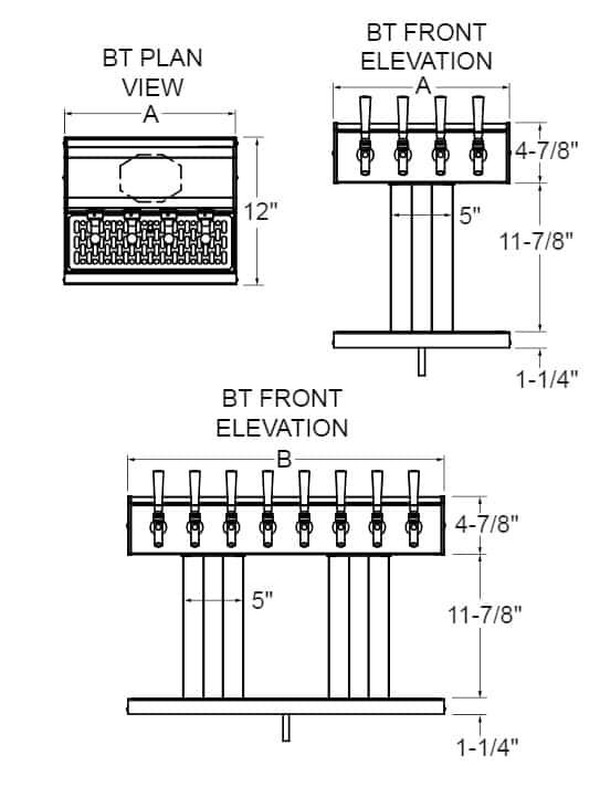 Glastender BT-5-PBR Tee Draft Dispensing Tower