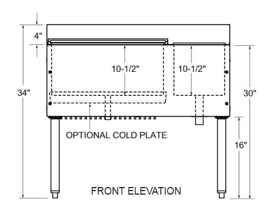 """Glastender C-CBA-36R CHOICE Underbar Combo Ice Bin/Cocktail Unit, Stainless Steel, 36""""W x 19""""D with 6-Bottle Storage and 67 lbs. Ice Capacity"""