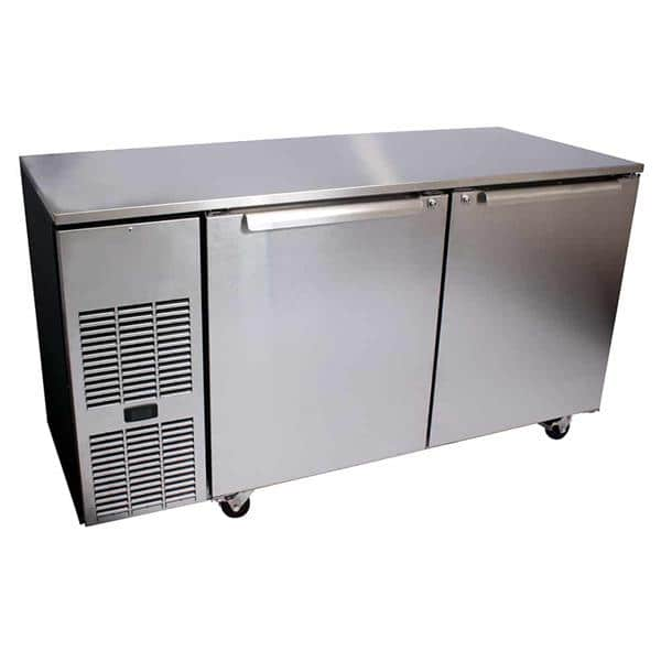 Glastender C1FU108 108'' 4 Section Undercounter Refrigerator with 4 Left/Right Hinged Solid Doors and Side / Rear Breathing Compressor
