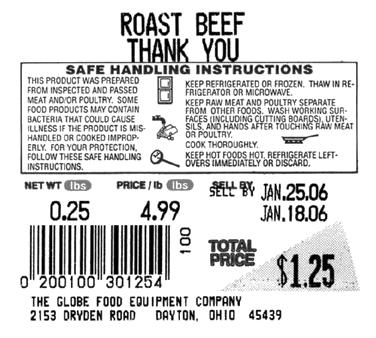 Globe E12 Safe Handling Labels