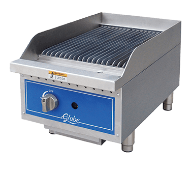 "Globe GCB15G-SR 15"" Gas Countertop Medium Duty Radiant Charbroiler with Manual Control - 40,000 BTU"