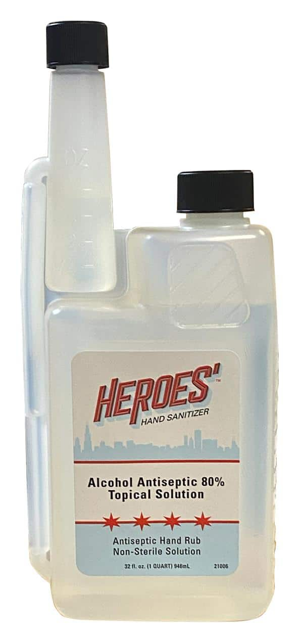 RJ Schinner Heroes' Hand Sanitizer Alcohol Antiseptic 80 % Topical Solution, 32 oz 12 / cs