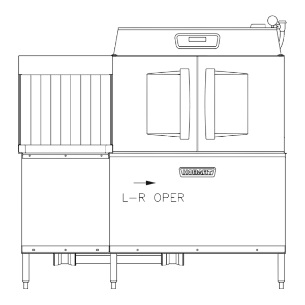 Hobart Hobart CLCS66EN-BAS+BUILDUP Conveyor Dishwasher