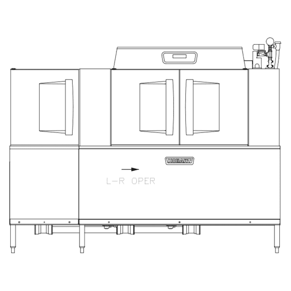 CLPS86EN-BAS+BUILDUP Conveyor Dishwasher