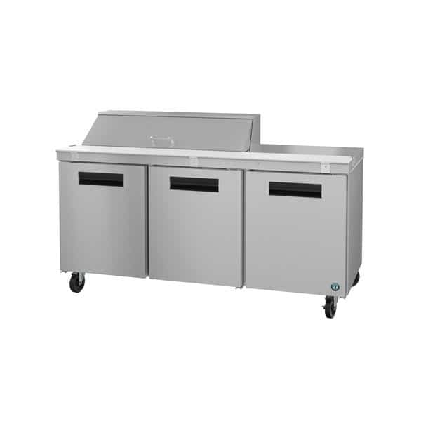 Hoshizaki SR72A-12 72'' 3 Door Counter Height Refrigerated Sandwich / Salad Prep Table with Standard Top