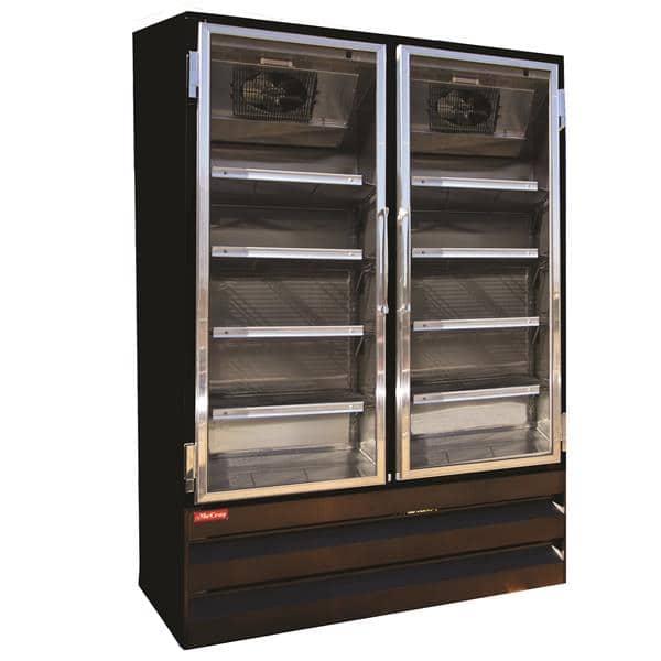 Howard-McCray GF88BM-B-FF 103.75'' 88.0 cu. ft. 4 Section Black Glass Door Merchandiser Freezer