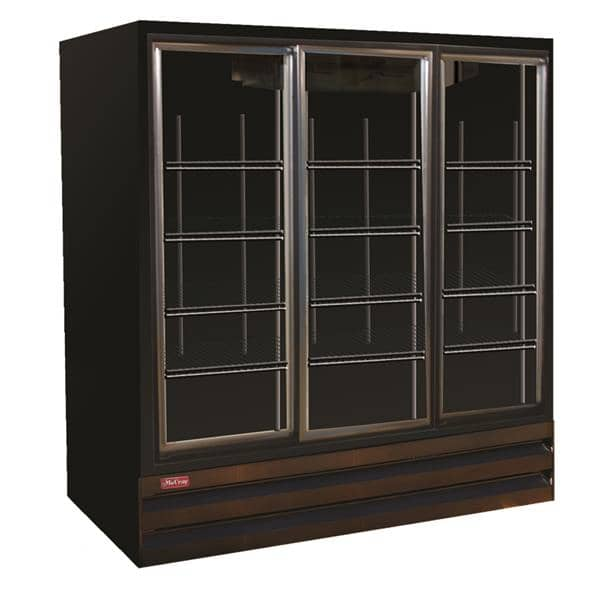 Howard-McCray GSR75BM-B 78.00'' Black 3 Section Sliding Refrigerated Glass Door Merchandiser