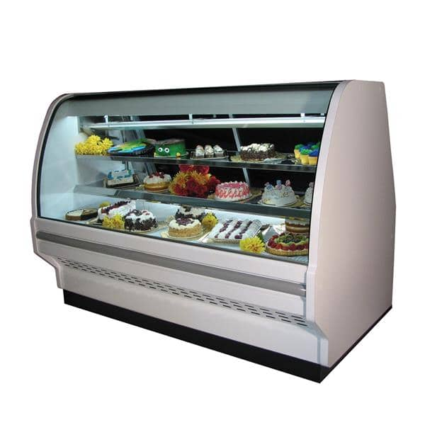Howard-McCray Howard-McCray R-CBS40E-4C-S-LED 51.5'' 89.0 cu. ft. Curved Glass Stainless Steel Refrigerated Bakery Display Case with 2 Shelves