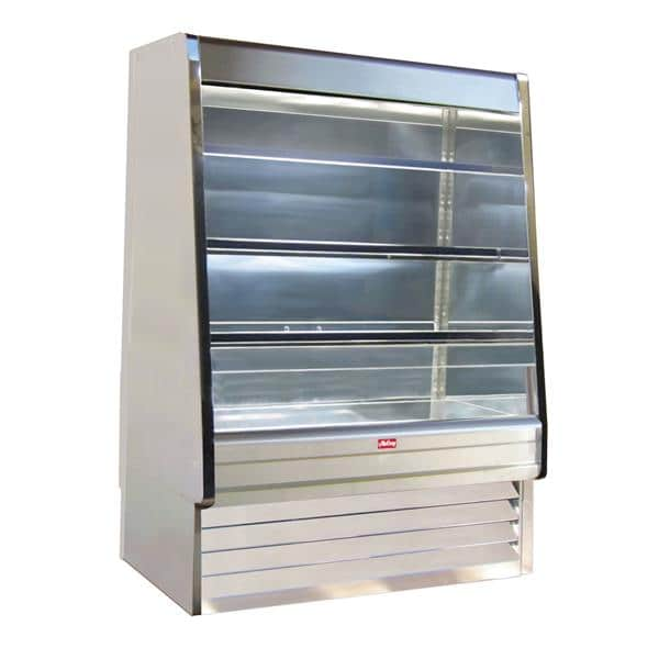 Howard-McCray R-OD30E-8-S-LED 99.00'' Stainless Steel Vertical Air Curtain Open Display Merchandiser with 3 Shelves