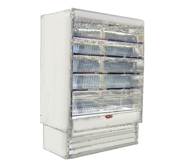 Howard-McCray R-OD35E-10-LED 123.00'' White Vertical Air Curtain Open Display Merchandiser with 4 Shelves
