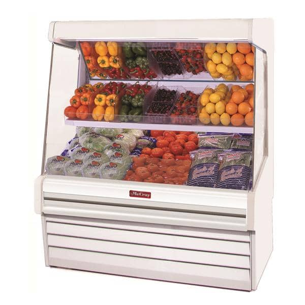 Howard-McCray R-OM30E-4L-S-LED 51.00'' Stainless Steel Vertical Air Curtain Open Display Merchandiser with 2 Shelves