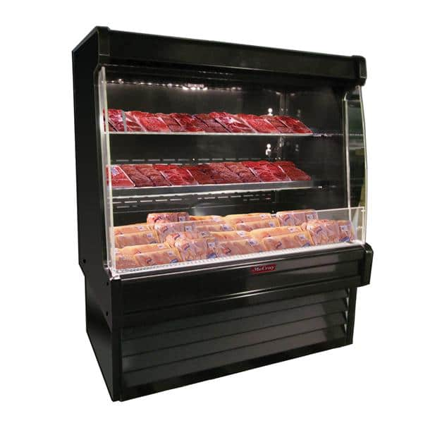 Howard-McCray R-OM35E-3L-S-LED 39.00'' Stainless Steel Vertical Air Curtain Open Display Merchandiser with 2 Shelves