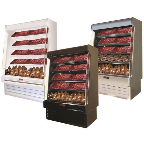 Howard-McCray R-OM35E-8S-S-LED 99.00'' Stainless Steel Vertical Air Curtain Open Display Merchandiser with 4 Shelves